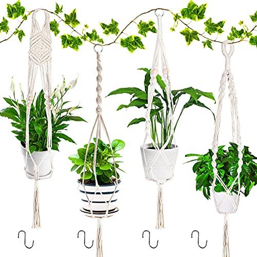 Emooqi Colgador para Plantas, Macramé para Colgador Macetas Exquisito Macramé Plantas|Cuerda De Algodon|4 Patas 41inch|Tejidas a Mano|Colgador de Pared Decoración del Jardín del Balcón -Paquete De 4