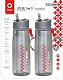 LifeStraw Go Water Filter Bottles with 2-Stage Integrated Filter Straw for Hiking, Backpacking, and Travel, 2-Pack, Red Cross Edition