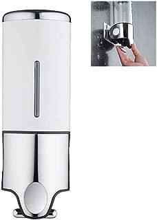 AMotie Wall Mount Pumps, Single 15 fl. oz. Shampoo & Soap Dispenser, Stainless Steel, Bottle Shower Home Hotel Bathroom Supplies, White