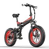 LANKELEISI X3000plus 48V Bicicleta eléctrica Plegable para Nieve Bicicleta de montaña de 20 Pulgadas Suspensión Completa Delantera y Trasera con Pantalla LCD (Black Red, 14.5Ah + 1 batería Repuesto)
