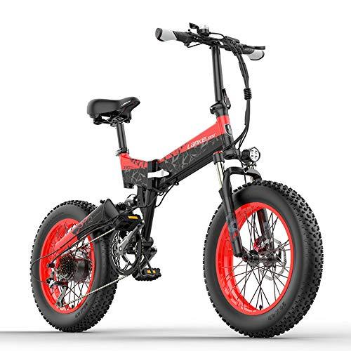 LANKELEISI X3000plus 48V 1000W Bicicleta eléctrica Plegable para Nieve Bicicleta de montaña de 20 Pulgadas Suspensión...