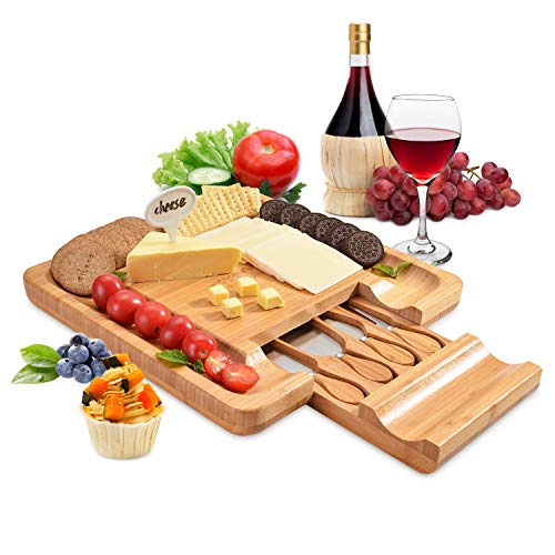 Bamboo Cheese Board Set, FITNATE Square Cheese Cutting Board with Cutlery Set, Large Cutting Surface&Hidden Drawer for Knives, Fork for...