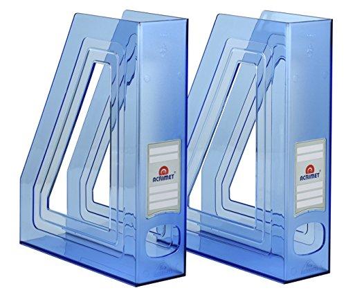 Acrimet Stehsammler Zeitschriftensammler Organizer (Kunststoff) (Blau Transparent Farbe) (2 Stück)