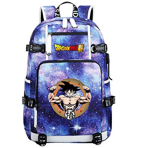 ZZGOO-LL Dragon Ball Son Goku/Vegeta IV/Torankusu Anime Laptop Backpack Bag Travel Laptop Daypacks Lightweight Bag with USB-E