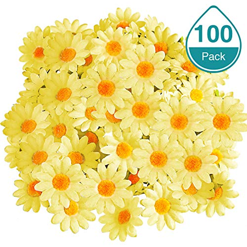 WILLBOND 100 Packs Fabric Daisy Flower Heads Fake Flowers 4 cm Artificial Daisies Craft for Easter Bonnet Wedding Party Decorations (Yellow)