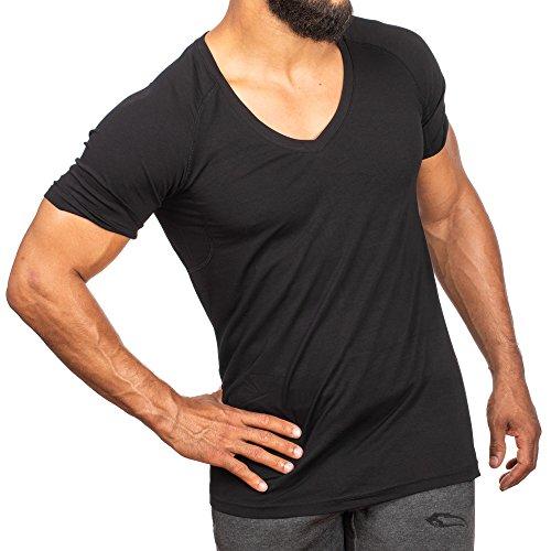 SMILODOX T-Shirt Herren mit V-Ausschnitt | Basic V-Neck für Sport Fitness Gym & Freizeit | Regular T-Shirt Kurzarm - Schlichtes Design - Leichtes Casual Shirt, Farbe:Schwarz, Größe:L