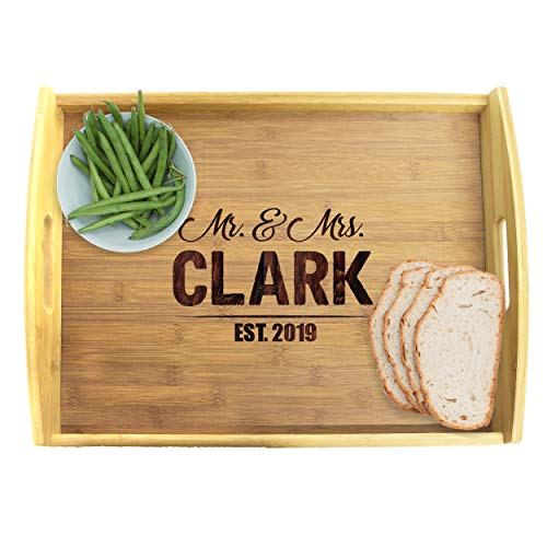 Engraved Wooden Serving Platter Tray with Handles - Personalized and Custom Monogrammed