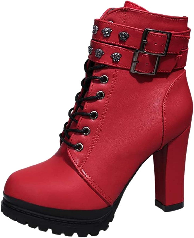 ONCEFIRST Women's Rivet Platform High Heel Lace Up Ankle Boots