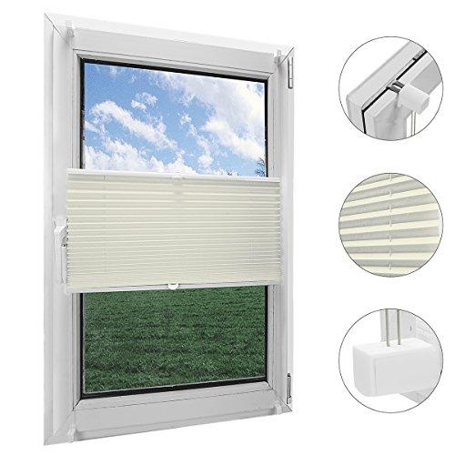 OBdeco Plissee Rollo Klemmfix ohner Bohren Faltrollo für Fenster Blickdicht Sonnenschutz Easyfix (Beige, (BreitxHoch) 60cmx130cm)