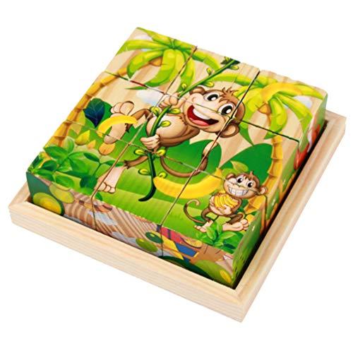 Exceart Dieren Kubus Puzzel Houten Blok Legpuzzels Zeszijdige Bouwpuzzel Educatief Voorschools Leren Speelgoed Voor Peuters Kinderen Dier