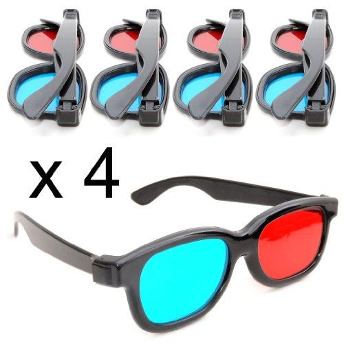 Gafas de 3D rojos y azules / cian con montura de plástico - Juego de 4piezas Gafas para película / juego anaglifo dimensional. Fabricado por Ganzoo.