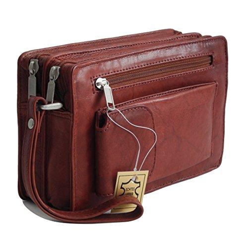 Bag Street Leder - geräumige Herren LederHandgelenktasche, Herrentasche,Handtasche, Handgepäck-Tasche, Gelenktasche (Braun - Doppelkammer) - präsentiert von ZMOKA®