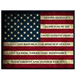 American Flag Pledge of Allegiance Patriotic Wall Art Picture - 8x10 Vintage Retro Rustic Home, Office or Apartment Decor for Living Room, Bedroom, Bar, Church - Gift for Patriots, America Fans