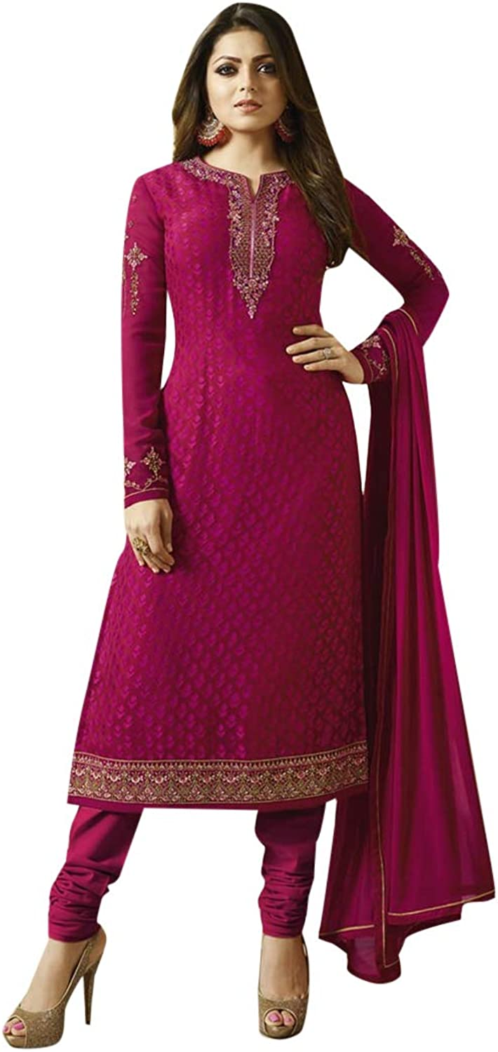 Magenta Salwar kameez Straight Designer Bollywood Collection Suit 7391