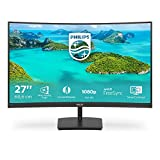 Philips Monitor Gaming 271E1SCA Monitor, Adaptive Sync 75 Hz, VA LED 27', 1920 x 1080 FHD, 4 ms, HDMI, VGA, Casse Integrate, Flicker Free, Low Blue Light, VESA, Nero