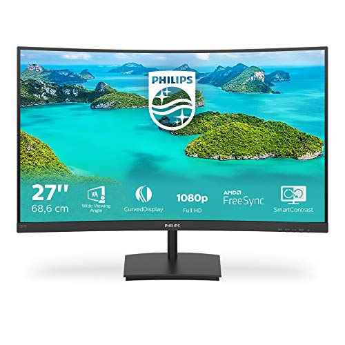 Philips Monitor 271E1SCA/00-27', Curved 1500R,FHD, 75Hz, VA, FreeSync (1920x1080, 250cd/m, HDMI, D-Sub)