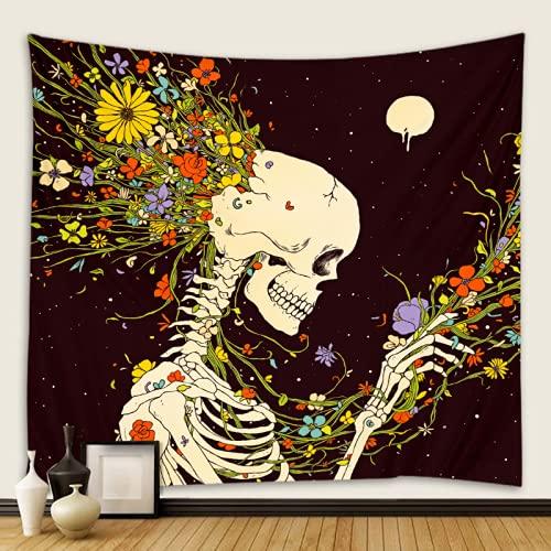 JDHANNE Tapiz de pared con diseño de calavera psicodélico, flores y esqueleto, para colgar en la pared, decoración romántica del hogar para dormitorio, sala de estar