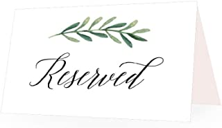 25 Greenery VIP Reserved Sign Tent Place Cards for Table at Restaurant, Wedding Reception, Church, Business Office Board Meeting, Holiday Christmas Party, Printed Seating Reservation Accessories Seat
