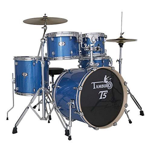 Tamburo T5 Batería acústica con caja de 18 cm, con platos, barras y taburete, color azul