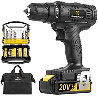 Cordless Drill, 20V Max Lithium-Ion Drill Driver Kit with 2 Variable Speeds, 41pcs Accessories, 15+1 Torque Setting, Built...