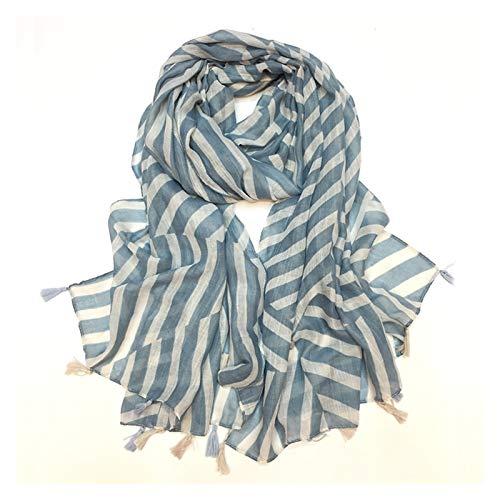 NINGXUE-MAOY Bufandas de la manera Imprimir mantón de la bufanda de rayas hecha a mano colgantes Barba Bufanda Calle turística Mantel Mantel toalla de playa (Color : Blue, Size : 90 * 180)