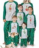 Conjunto de Pijamas navideños a Juego para la Familia Ropa de Dormir de Vacaciones Pijamas de Rayas Grinch para Mujeres/Hombres/niños/niñas (papá, L)