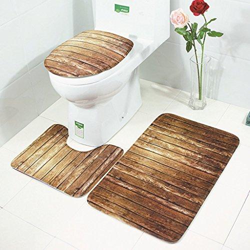 William 337 Ensemble de housse de siège de toilette antidérapant Housse de siège de toilette et tapis Ensemble de salle de bain en polyester imperméable à l'eau