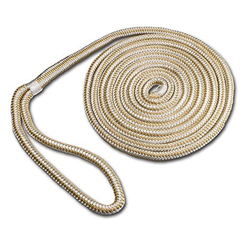 ACY Marine Double Braided Nylon Dockline (Gold/White, 3/8-Inch x 15-Feet)