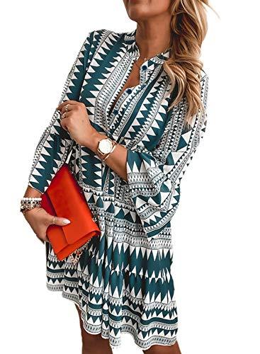 FOBEXISS Vestido casual de manga larga para mujer con estampado holgado, vestido de túnica bohemia para mujer