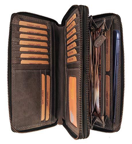 Hill Burry Leder Reisebrieftasche | Dokumententasche - Travel/Wallet aus naturgegerbtem hochwertigem Rindsleder | Organizer/XXL Mappe | Geldbörse Portmonee Portemonnaie (Grau)