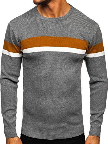 BOLF Hombre Jersey Cerrado a Rayas Escote Redondo Pulóver Sweatshirt Camiseta de...