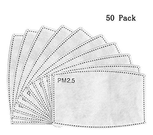 Aktivkohlefilter, 5 Schichten Austauschbare Anti-Haze-Filter Mundschutzfilter zum Laufen Radfahren Outdoor-Aktivitäten Packung mit 50 Stück