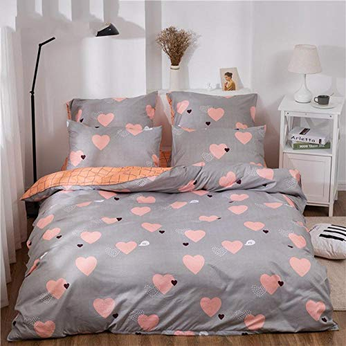 GTBDWOSQ Bedding Set 3D Cartoon Pink Love Heart Double 200 X 200 Cm Duvet Cover With 2 Pillowcases(50X75Cm) Bedding Set With Zipper Closure Hypoallergenic Soft Microfiber Quilt Cover Suitable For Ch