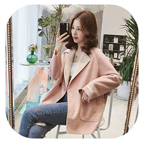 Small-shop coat&jacket Damen Kurzmantel aus Wollmischgewebe, Umlegekragen, Kaschmirjacke, einreihig, schmal - rosa - XX-Large