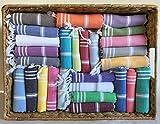 (Set of 12) Turkish Cotton Washcloth Hand Face Head Guest Gym Towel Set Peshtemal Kitchen Tea Towel Dish Cloth Set (Multicolor)