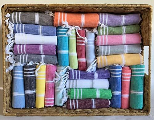 Juego de 12 toallas de mano turcas de algodón para invitados, juego de toallas de gimnasio Peshtemal para cocina, juego de paños de cocina (multicolor)