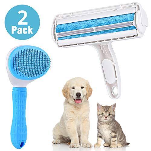 DanceWhale 2er Pack Set Fusselrolle für Haustierhaar, Tierhaare Fusselbürste für Sofa Möbel, Praktischer Tierhaarentferner und Hundebürste Katzenbürste Fellkamm,Blau