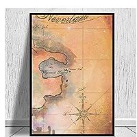 ネバーランドマップキャンバスプリント家の装飾壁アート写真リビングルームHDキャンバス油絵寝室のポスターキャンバスに印刷40x60cmフレームレス