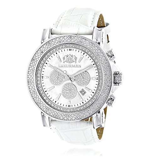 Oversized Mens Diamond Watch 0.25ctw of Diamonds by Luxurman White Mop Escalade Chronograph Leather Bands