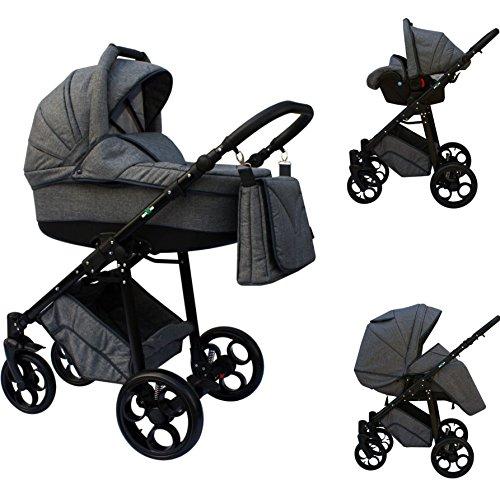 Clamaro 'MAXIM' 3in1 Premium Kombi Kinderwagen mit 360 ° GEL-Reifen inkl. Buggy, Babywanne mit verstelbarer Liegefläche, Clamaro 'JUNO' Auto Babyschale (0-13kg Gruppe 0+), Leinen Grau