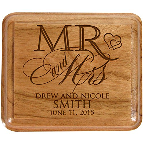 LifeSong Milestones Personalized Mr and Mrs Double Cherry Wooden Double Wedding Ring Box for Ceremony,Custom Monogram Engagement Ring Box Holder
