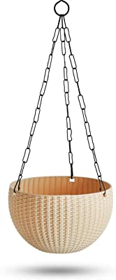 GARDENS NEED Virgin Plastic Euro Plastic Basket | Set of 4 Hanging Planter, (22cm x 22cm x 24cm, Cream)
