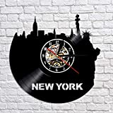 XCJX New York City Sightseeing Vinyle Horloge Murale Montre Personnalité Skyline Art À La Main Horloge Décorer Salon 30X30 cm Sept Couleurs