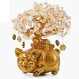 Crystal Money Trees Citrino árbol del dinero de la sala del gabinete gabinete del vino Decoración Decoración tienda de don apertura Feng Shui suerte Figurita de cerdo Árbol de cristal de dinero bonsai