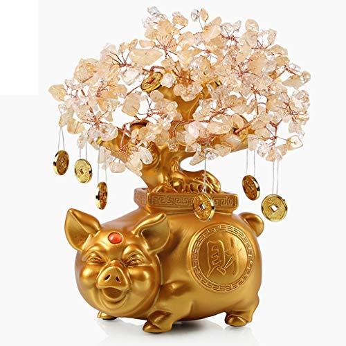 NYKK Ornamento de Escritorio Citrino árbol del Dinero de la Sala del gabinete gabinete del Vino Decoración Decoración Tienda de Don Apertura Feng Shui Suerte Figurita de Cerdo artesanías decoración