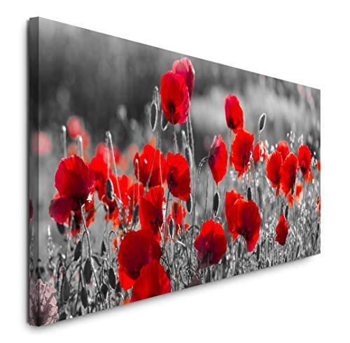 Paul Sinus Art GmbH Rote Mohnblumen im Feld 120x 50cm Panorama Leinwand Bild XXL Format Wandbilder Wohnzimmer Wohnung Deko Kunstdrucke