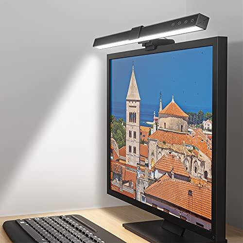 Lámpara de Escritorio LED, Lámpara de Monitor para Ordenador, Lámpara de Lectura, Intensidad de luz y colores ajustables, Sin parpadeo, Protección para los ojos, Optimización del espacio en la mesa