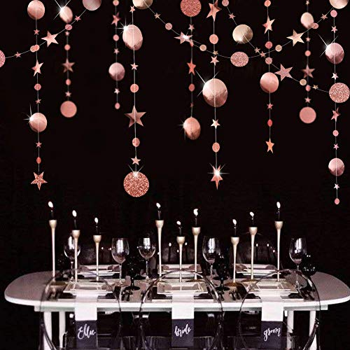 Rose Gold Circle Dot Garland Streamer Kit for Twinkle Star Party Decoration Glitter Reflective Paper Hanging Bunting Banner Backdrop Background for Wedding/Baby Shower/Christmas/Birthday/Prom/Wedding