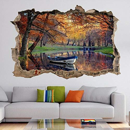Otoño árboles lago barco naturaleza arte de la pared pegatinas mural calcomanía decoración del hogar HK22-3D arte mural calcomanía decoración del hogar 60x90cm