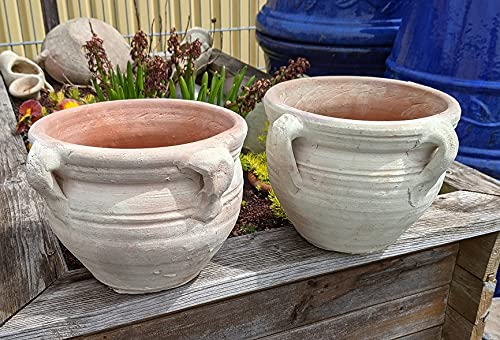 2 Stück Blumentopf echt Terrakotta 20 cm, Blumenkübel für Garten und Wohnung Terracotta kein Kunststoff, Blumen